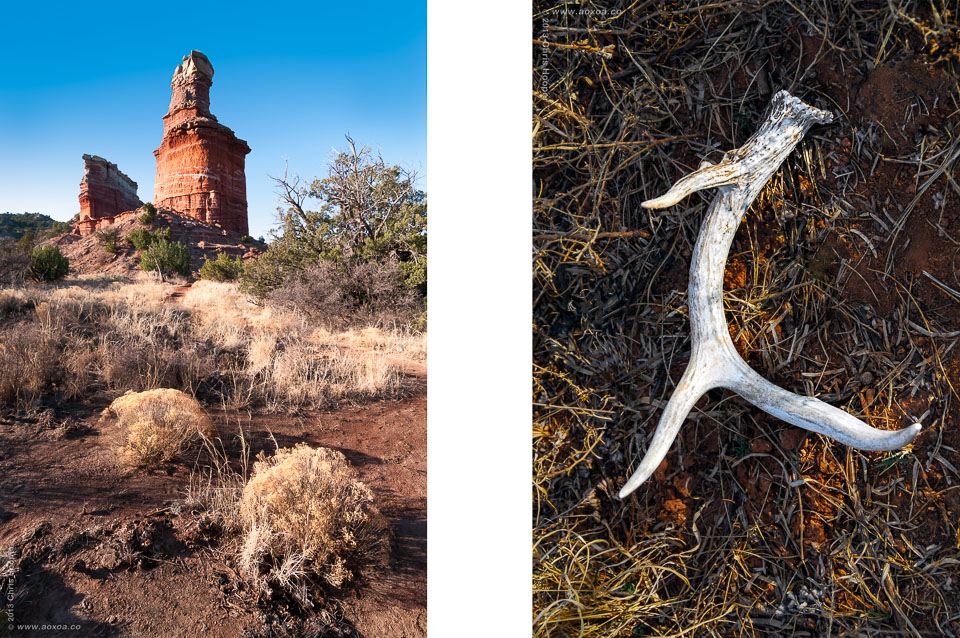 Lighthouse signature geologic feature and Deer Antler Shed Palo Duro, TX