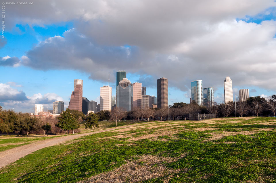 Eleanor Tinsley Park with houston skyline