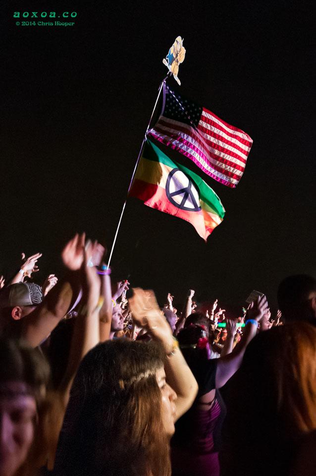 Peace flag flys above Euphoria crowd