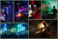 Collage of concert photographs of the band Lotus