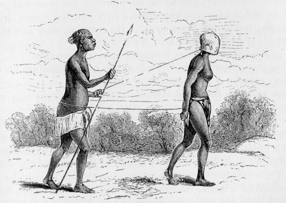 African walking with African slave