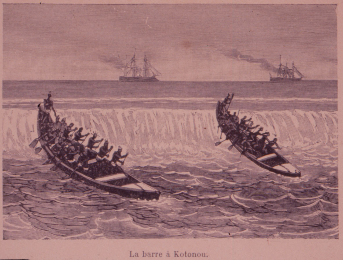 Slave canoes Battling the Surf, the middle passage