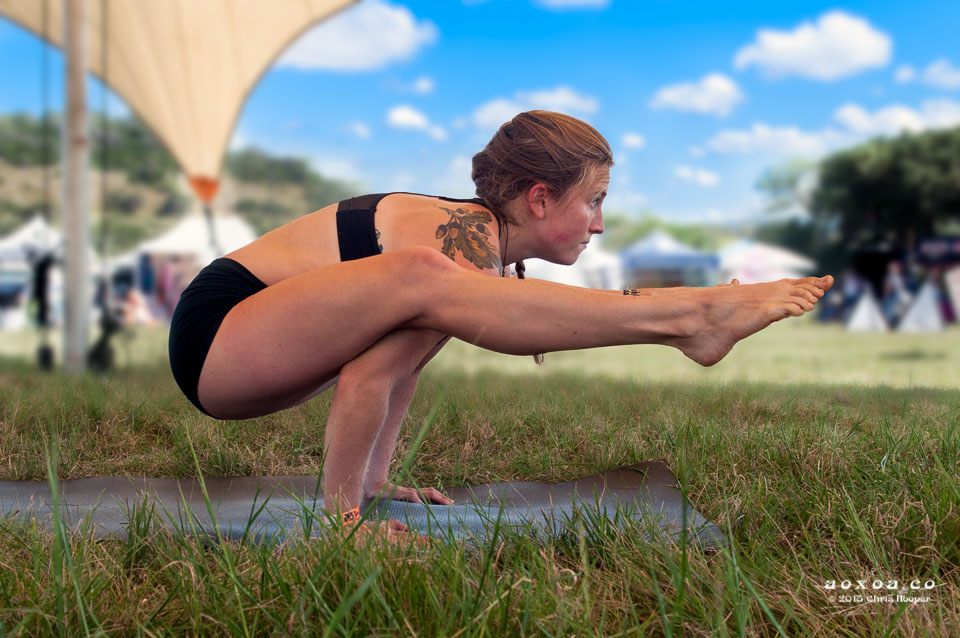 Difficult yoga pose at utopiafest by aoxoaphotography