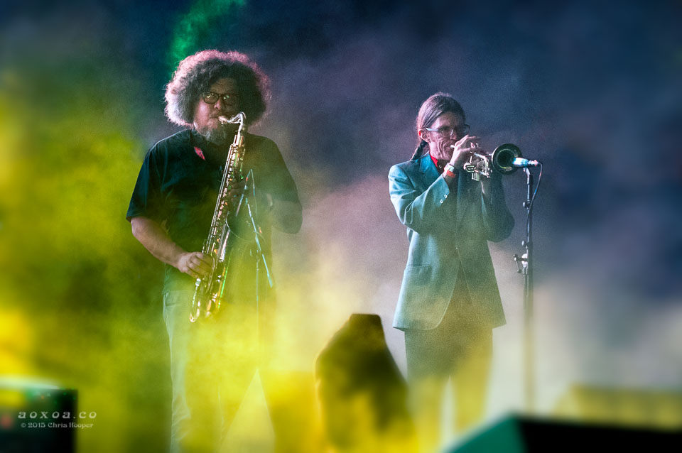 Horn players for thievery corporation by aoxoa at euphoria music festival