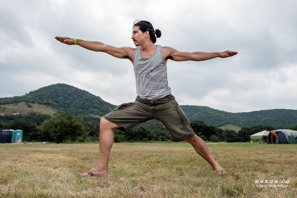 Yoga warror pose by aoxoa utopiafest review 2015
