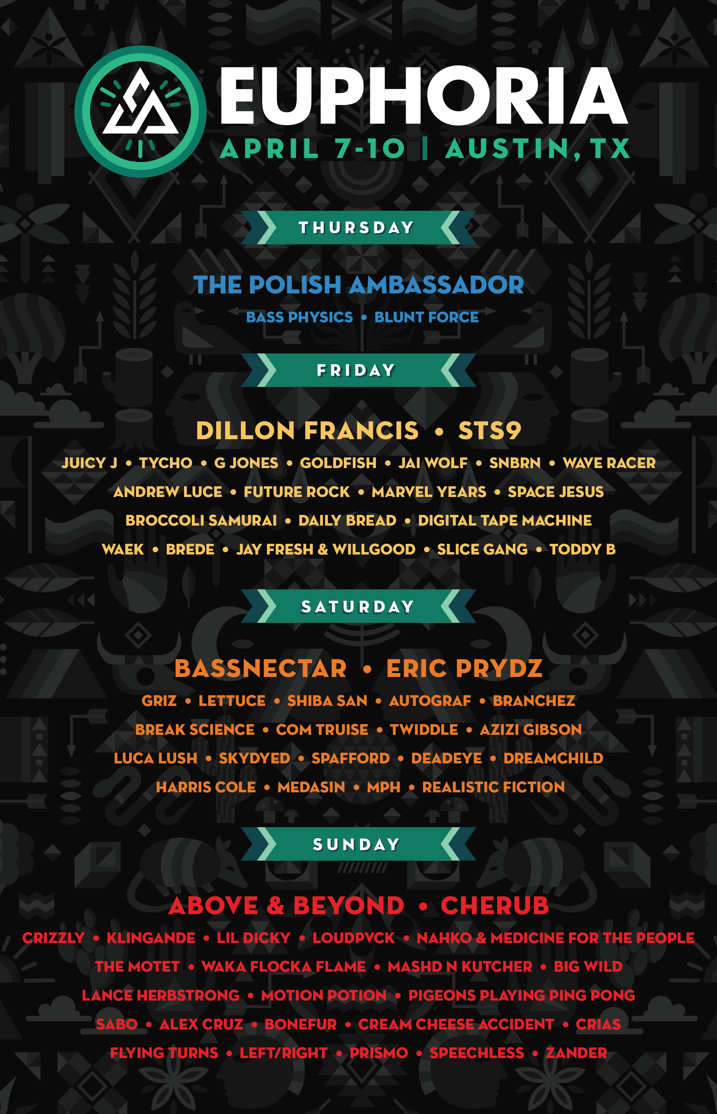 Lineup By Day Euphoria Music Festival 2016