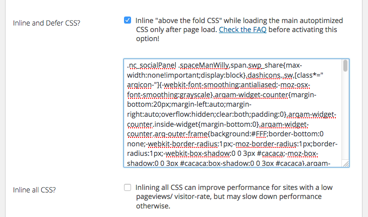 autoptimize inline defer css above the fold for speed