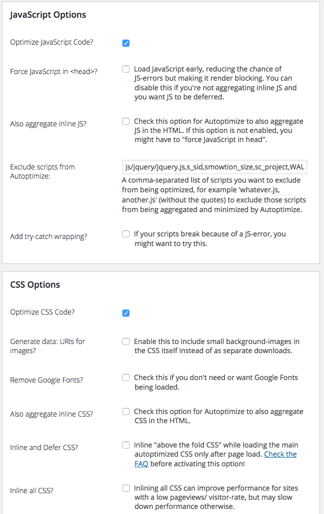 autoptimize settings to optimize css delivery